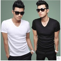 new Promotion!2014 hot free shipping Men clothes t shirt high-elastic cotton men's short sleeve v neck tight shirt male T-shirt