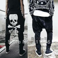 Sexy Skull Printing Men's Harem Baggy Casual Sport Trousers Punk Fashion Dance Jogging Hip Hop Sweatpants Free Shipping