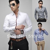 Mens Fashion Cotton Designer Cross Line Slim Fit Dress man Shirts Tops Western Casual M L XL  XXL