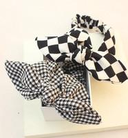 Free shipping Black and white plaid bow rabbit ears hair band headband  hot selling