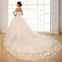 2014 new fashion  tube top wedding dress sweet princess puff skirt train wedding dress bride dress Freeshipping