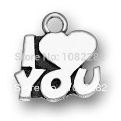 rhodiumr plated i love you Alphabet pendant charms 50 pcs a lot(China (Mainland))