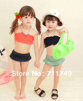 Children Swimwear Girl Bikini Korean Style w/ Necklace Two Pieces Swimsuit for Kid Toddlers Frozen Bathers