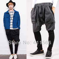Fashion Design Men's Britian Style Low Drop Crotch Sweatpants Casual Sport Dance Jogging Harem Baggy Trousers Free Shipping