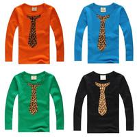 2014 new boy t shirts Spring print child long-sleeve T-shirt male female child 100% cotton basic kids shirt