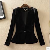 2014 women's spring outerwear OL outfit one button slim waist slim velvet blazer
