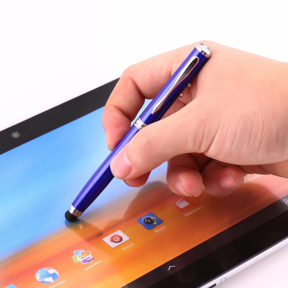 Высокое качество 2 шт. 4 в 1 Лазерная Указка СВЕТОДИОДНЫЙ Фонарик Сенсорный Экран Стилус Ручка для iPhone Оптовой стилус