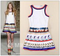 NEWEST 2014 Spring RunWay  SNOOPY sleeveless multicolour print belt tiebelt 100% silk dress 11526yy08