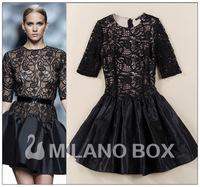 Women Embroidery Lace Dress Cheap Plus Size Women Dresses New Fashion 2014 Summer Runway Dress