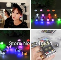 Hot-selling nightclub,party,luminous neon Led  light emitting star colorful shape stud earring 2 pieces/lot (a pair)