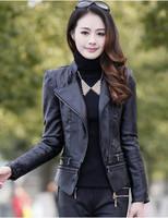Free Shipping 2014 New Autumn Winter Pu Jaquetas Plus Size Ladies' Motorcycle Bomber Jacket Women' Faux Leather JacketsN505B6319
