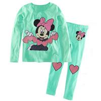 Retail  2013 new 100% cotton Hello kitty baby pajamas of the children leopard pyjamas kids baby clothing 2 pcs set