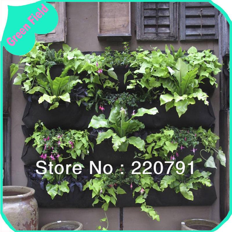 Felt Jardim Vertical suspensão verde parede Planter Pot Outdoor decoração da parede plantador pequeno Hanging Garden Planter Green Field(China (Mainland))