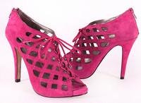Sheepskin high-heeled open toe platform cutout ultra high heels gladiator sandals