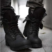 New Retro Combat Boots Winter England-style Fashionable Men's Short Shoes Black