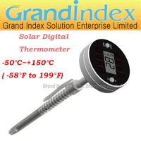 Solar Panel Powered Digital Thermometer with Food Grade SS Sensor WT-5  (6pcs/lot)