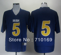 Free Shipping  Notre Dame Fighting Irish Menti Te'o #5 2012 Shamrock Series Football Jersey - Navy Blue  mix order