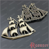 Free Shipping Wholesale 63*47mm Antique Bronze Big Sailboat Alloy Charms Pendants Diy Findings Accessories 6 pieces(J-M4232)