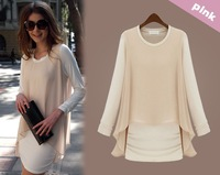 Free shipping OL Milan, large size women's dress fake two-piece long-sleeved dress bottoming