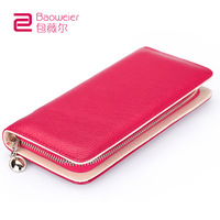 2013 female long design female bags cowhide women's wallet zipper change clip