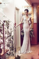 Free Shipping Elegant New Cap Sleeve V-Neck Custom Made Appliqued Tulle Mermaid Bridal Gowns Wedding Dresses 2014