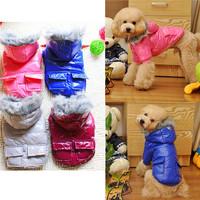 4colors pet coat waterproof leather Cotton clothes double pocketdog hoodies WT27
