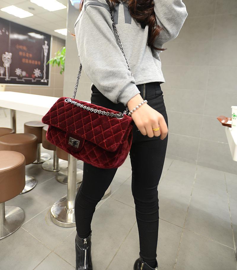 Детали и Аксессуары для сумок Fashion classic women's fashion handbag messenger bag handbag lock plaid plush bag