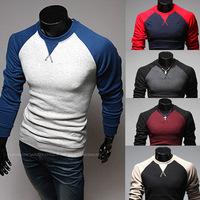 Top Quality!Mens T Shirts Fashion 2014 New Arrival Korean Style Cotton Blend O-Neck Long-Sleeve Men T Shirt Man 5 Colors