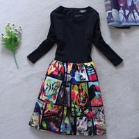 Free shipping 2015 new women spring fashion slim elastic knitted cotton basic elegant one-piece dress 1492