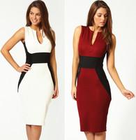 Fashion color block V-neck ol slim hip sleeveless one-piece dress pencil skirt