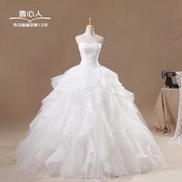 New arrival 2014 draped design sweet princess wedding dress
