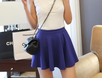 NDQ14001 2014 New Style Fashion Women&Girls High Waist Candy Color Mini Skirt Loose Pleated Skirt