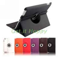 360 degree rotating swivel stand magnetic PU leather case smart cover smartcover for new ipad 4 ipad 3 ipad 2 (10 colors option)