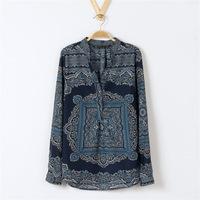 Excellent Quality ! Spring Summer Autumn New Fashion Long Sleeve Chiffon Women Shirt Vintage Print Flowers Blouse S/M/L SX10788
