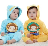 Free Shipping  16020925 Children's clothing Set 2 piece  Long Sleeved Hoodies + Long Pants Cute Monkey