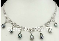 free shipping*  2pcs Beautiful! Jewellery Real Black Gray Pearl Beads Necklace Pendents natural necklace
