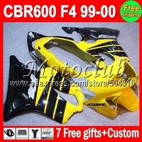 7gifts for HONDA F4 MMC71 CBR600f4 99-00 f4 FS CBR600F4 99 00 CBR600 F4 CBR 600 yellow black 600F4 1999 2000  CL83 Fairing Kit