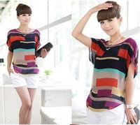 new 2014 fashion Women Striped chiffon blouse Multi-colour print shirts Loose Short Sleeve casual blusas femininas plus tops S-L