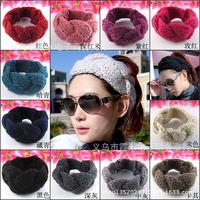 Min order is $10 (can mix ) popular knitting Camellia flower head manual Warm crochet flower wool hair band Women's accessories