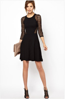 Free Shipping 2014 New women sexy  party dress   lace sleeve O Neck fashion women clothing Free size