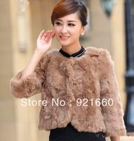Free shipping fashion women's clothing natural rabbit fur coat short winter coat rabbit fur coat