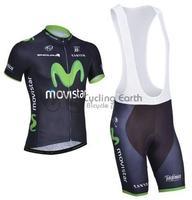 2014 NEW! Movistar #2 team short sleeve cycling jersey bib shorts set bike bicycle wear clothes jersey bib pants,Free shipping!