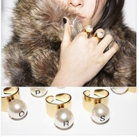 ZH0795 New Arrive Hot super  letters gold pearl ring opening  for women  Adjustable Size Rings