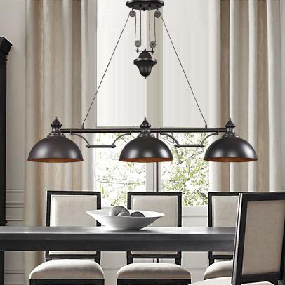 Lighting American Vintage Antique Copper Matrix 3 Pendant Light Dining Table Lamp