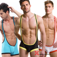 Male bodysuit breathable net perspectivity translucent bodysuit sexy sports fitness wrestling clothes