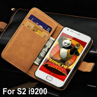 Vintage Wallet Stand Genuine Leather Case For Samsung Galaxy S2 i9100 SII S II Phone Bag with Card Holder