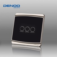 Free Shipping Dano03 Electrical wall light switch waterproof touch switches Smart Home Luxury Black LED Panel