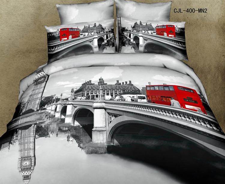 Free Shipping 3D Oil Painting Bridge Bus Bedding Sets Full Queen 4PCS Pure Cotton Reactive Printed Bed Sheet / Bed Set(China (Mainland))