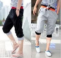 Free shipping men color block sports pants patchwork sweatpants slim fit skinny big size harem trousers hip hop capri training