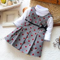 Single child set autumn girls clothing baby clothes tank dress basic shirt